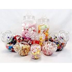 Lote de Botes  y Tarros de plástico Set de 10 para tu Retro Candy Bar