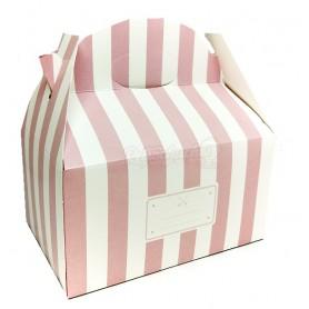 Caja Cartón Para Chuches Rosa a Rayas vacía