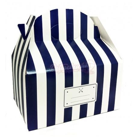 Caja Cartón Para Chuches Azul Marino a Rayas Retro Vintage vacía
