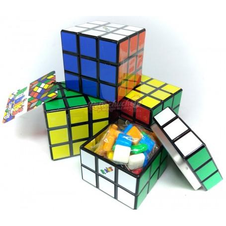Caja Caramelos Metálica con forma Cubo Rubik