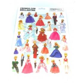 Cromos Troquelados con Purpurina Muñecas Chabel y Barbies