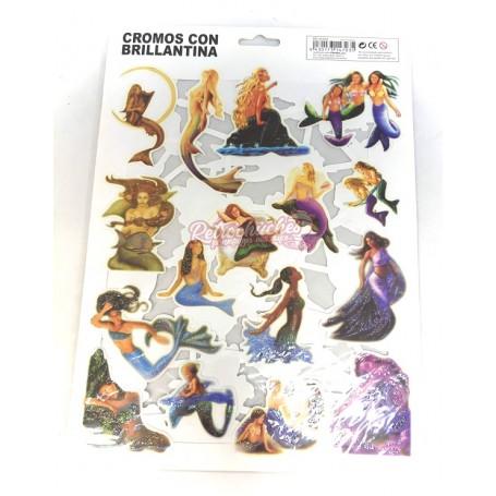 Cromos con Purpurina de Hadas y Sirenas 2 láminas