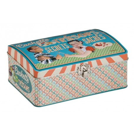 Caja Metálica Retro Vintage Cofre o Baul de Juguetes Vacía