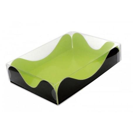 Caja Mediana Verde y negra tapa transparente