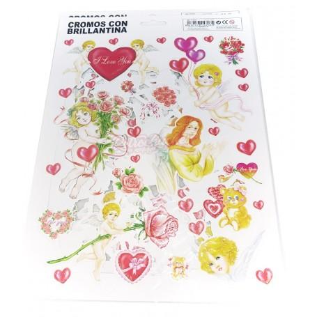 Cromos con Purpurina Cupidos y Hadas 2 láminas