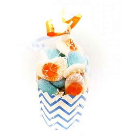 Cupcake o Vasito de Chuches Huevos y Besitos Azules
