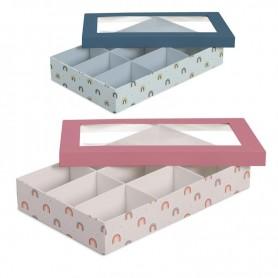 Caja 9 Compartimentos Cartón Decorado Con Tapa con Ventana