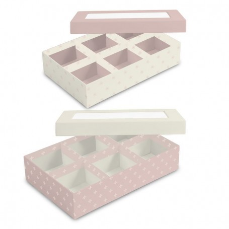 Caja 6 Compartimentos Cartón Decorado Con Tapa con Ventana Rosa y blanco