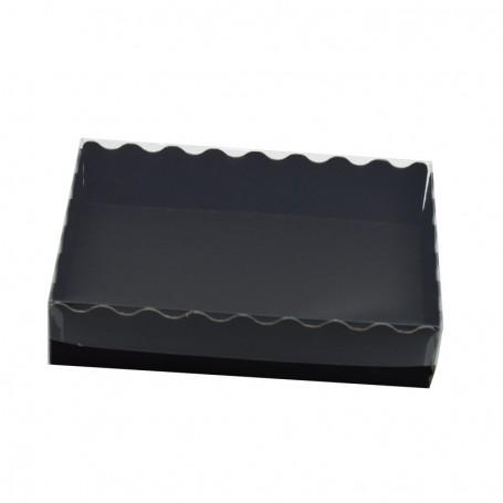 Caja Cartón negro con Tapa Plástico Transparente Mediana