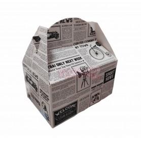 Caja Cartón Para Chuches Retro Vintage Periódico