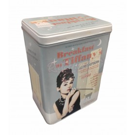 Caja Metálica Alta Retro Vintage Vacía Desayuno Diamantes