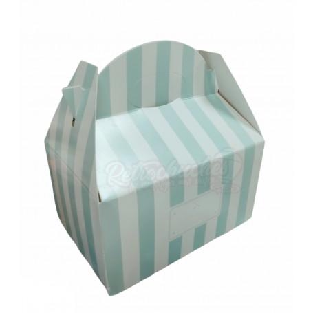 Caja Cartón Para Chuches Verde Menta a Rayas Retro Vintage vacía