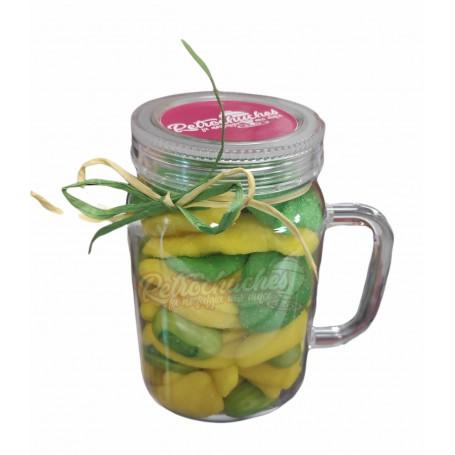 Jarra Plástico con Chuches Zumo de Frutas Verde y Amarillo