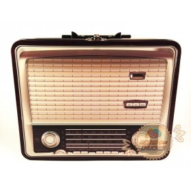 Caja Metal Radio Retro Marrón